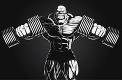 Ilustração: halterofilista com peso Imagem de Stock Royalty Free