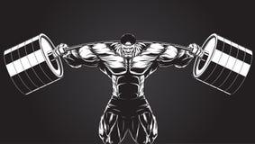 Ilustração: halterofilista com um barbell Fotos de Stock Royalty Free