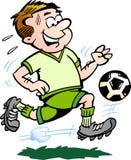 Ilustração Hand-drawn do vetor de um jogador de futebol Fotografia de Stock Royalty Free