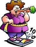 Ilustração Hand-drawn do vetor de uma senhora gorda Imagens de Stock