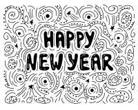 Ilustração handdrawn do ano novo feliz Desejos escritos à mão do Natal para cartões do feriado Rotulação escrita à mão Imagens de Stock