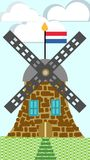 Ilustração holandesa do moinho de vento ilustração stock