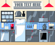 Ilustração home moderna da cozinha com lugar do texto Fotos de Stock Royalty Free