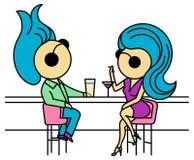 """Ilustração homem e mulher de um †dos pares """"que sentam-se na barra Foto de Stock Royalty Free"""