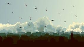 Ilustração horizontal da cidade europeia grande na nuvem do fundo ilustração stock