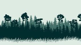 Ilustração horizontal da floresta com grama Foto de Stock Royalty Free