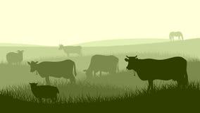 Ilustração horizontal de animais de estimação da exploração agrícola. ilustração do vetor