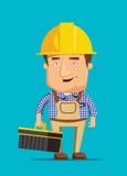 Ilustração humana do trabalho do trabalhador bonde do técnico da manutenção ilustração royalty free