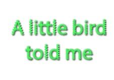 A ilustração, idioma escreve um pássaro pequeno disse-me que se isolou em um wh imagens de stock