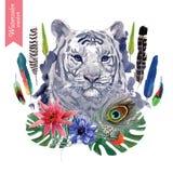 Ilustração indiana da cabeça do tigre do estilo do vintage com Imagens de Stock