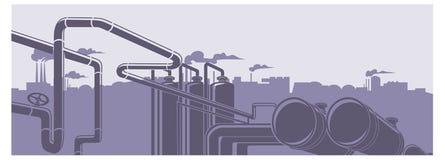 Ilustração industrial da paisagem da fábrica Fotografia de Stock
