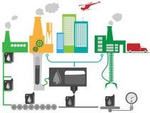 Ilustração industrial do diagrama esquemático da fábrica do petróleo ilustração stock