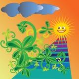 Ilustração infantil do vetor do jardim do verão imagem de stock royalty free