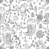 Ilustração infinita sem emenda do vetor do verão do canto do pássaro Foto de Stock