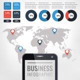 Ilustração infographic do vetor do detalhe Gráficos do mapa e da informação de mundo Imagem de Stock