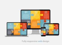 Ilustração inteiramente responsiva do vetor do conceito de design web Foto de Stock Royalty Free