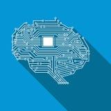 Ilustração inteligente artificial de Brain Circuit Board Flat Style ilustração stock
