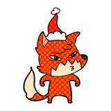 ilustra??o inteligente do estilo da banda desenhada de uma raposa que veste o chap?u de Santa ilustração royalty free