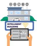 Ilustração inteligente dos trabalhos em rede do computador da automatização da construção do conceito do vetor da construção ilustração royalty free