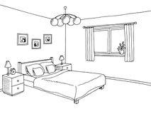 Ilustração interior branca preta do esboço da arte gráfica do quarto Imagem de Stock