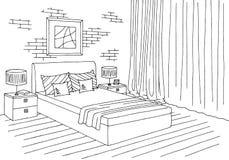 Ilustração interior branca preta gráfica do esboço do quarto Fotos de Stock Royalty Free