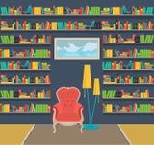 Ilustração Interior da grande biblioteca home velha Fotografia de Stock Royalty Free