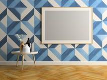 Ilustração interior da sala 3D do projeto moderno Fotografia de Stock