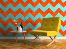 Ilustração interior da sala 3D do projeto moderno Foto de Stock