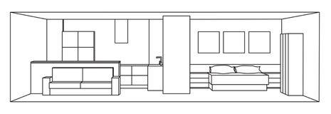Ilustração interior do vetor 3d Espaço da cozinha e do quarto ilustração do vetor