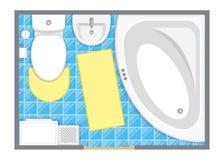 Ilustração interior do vetor da opinião superior do banheiro Planta baixa da sala do toalete Foto de Stock Royalty Free