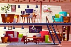 Ilustração interior do vetor da sala e do quarto do sótão ilustração stock