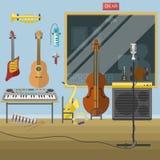 Ilustração interior do vetor do volume do registro do produtor dos instrumentos musicais do estúdio da música Fotografia de Stock