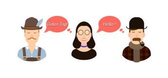 Ilustração internacional do conceito da tradução de uma comunicação turistas ou homens de negócios ou políticos de Alemanha ou fotos de stock royalty free