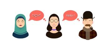 Ilustração internacional do conceito da tradução de uma comunicação turistas ou homens de negócios ou políticos do discurso do ár fotografia de stock