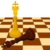 Rei branco preto da xadrez a bordo isolado Fotografia de Stock Royalty Free