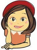 Ilustração isolada de uma menina de sorriso bonito com chapéu vermelho e o vestido cor-de-rosa Fotografia de Stock Royalty Free