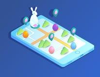 Ilustração isométrica com o coelhinho da Páscoa que procura ovos ilustração royalty free