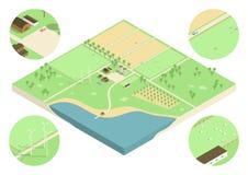 Ilustração isométrica da exploração agrícola Fotos de Stock