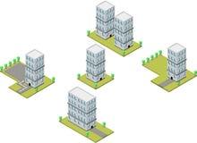Ilustração isométrica de construção, ilustração do vetor imagens de stock