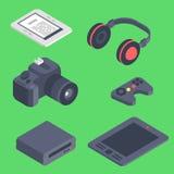 Ilustração isométrica de uma comunicação móvel 3d das tecnologias sem fios dos ícones dos dispositivos do computador do dispositi ilustração stock
