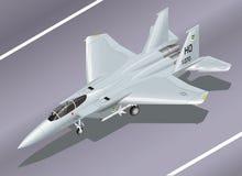 Ilustração isométrica detalhada do vetor de um F-15 Eagle Jet Fighter na terra Imagens de Stock