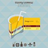 Ilustração isométrica do cocktail do nascer do sol do Tequila Imagem de Stock