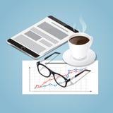 Ilustração isométrica do conceito da ruptura de café do vetor Fotografia de Stock Royalty Free
