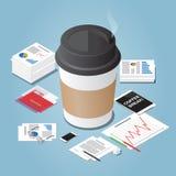 Ilustração isométrica do conceito da ruptura de café do vetor Fotos de Stock