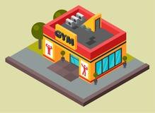 Ilustração isométrica do gym da aptidão do clube desportivo do vetor Projeto urbano da construção do centro do gym Plano da facha ilustração royalty free