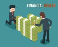 Ilustração isométrica do vetor 3d da saúde do dinheiro Fotos de Stock