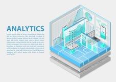 Ilustração isométrica do vetor da analítica avançada 3D abstrato infographic com dispositivos móveis e painéis dos dados ilustração royalty free