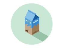 Ilustração isométrica do vetor da caixa do leite de chocolate Imagem de Stock Royalty Free