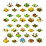 Ilustração isométrica do vetor da coleção do ícone da construção de exploração agrícola 3D ilustração royalty free