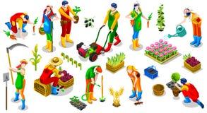 Ilustração isométrica do vetor da coleção do ícone dos povos do fazendeiro 3D
